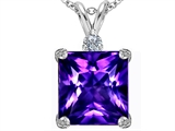Star K™ Large 12mm Square Cut Simulated Amethyst Pendant Necklace style: 306117