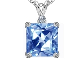 Star K™ Large 12mm Square Cut Simulated Aquamarine Pendant Necklace style: 306118