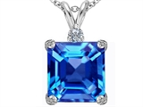 Star K™ Large 12mm Square Cut Simulated Blue Topaz Pendant Necklace style: 306119