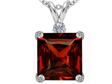 Star K™ Large 12mm Square Cut Simulated Garnet Pendant Necklace style: 306121
