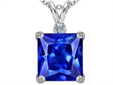 Original Star K Large 12mm Square Cut Simulated Tanzanite Pendant