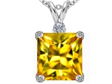 Original Star K Large 12mm Square Cut Simulated Citrine Pendant