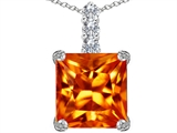 Original Star K Large 12mm Square Cut Simulated Mexican Orange Fire Opal Pendant