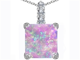 Original Star K™ Large 12mm Square Cut Created Pink Opal Pendant