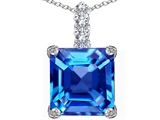 Original Star K Large 12mm Square Cut Simulated Blue Topaz Pendant