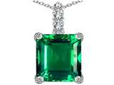 Original Star K™ Large 12mm Square Cut Simulated Emerald Pendant