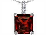 Original Star K Large 12mm Square Cut Simulated Garnet Pendant