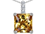 Original Star K Large 12mm Square Cut Simulated Imperial Yellow Topaz Pendant