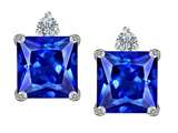 Original Star K 7mm Square Cut Simulated Tanzanite Earring Studs