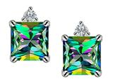 Original Star K™ 7mm Square Cut Rainbow Mystic Topaz Earrings Studs style: 306150
