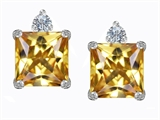 Original Star K 7mm Square Cut Simulated Imperial Yellow Topaz Earring Studs