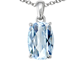 Tommaso Design™ Rare European Checkerboard Cut Cushion Shape Genuine Aquamarine Pendant