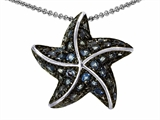 Original Star K Starfish Pendant With Round Simulated Blue Topaz