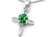 Original Star K™ Round Simulated Emerald Cross Pendant