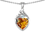 Original Star K™ Loving Mother With Child Family Pendant With 8mm Heart Shape Simulated Citrine