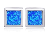 Original Star K™ 8mm Square Cut Blue Simulated Opal Earrings Studs style: 306176