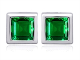 Original Star K 8mm Square Cut Simulated Emerald Earring Studs