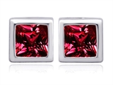 Original Star K 8mm Square Cut Created Ruby Earring Studs