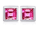 Original Star K 8mm Square Cut Created Pink Sapphire Earring Studs