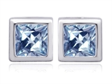 Original Star K 8mm Square Cut Simulated Aquamarine Earring Studs