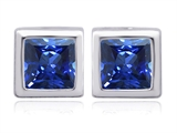 Original Star K 8mm Square Cut Created Sapphire Earring Studs