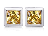 Original Star K 8mm Square Cut Simulated Imperial Yellow Topaz Earring Studs