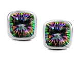 Original Star K 8mm Cushion Cut Mystic Rainbow Topaz Earring Studs