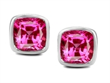 Original Star K 8mm Cushion Cut Created Pink Sapphire Earring Studs