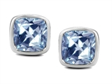 Original Star K 8mm Cushion Cut Simulated Aquamarine Earring Studs