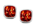 Original Star K 8mm Cushion Cut Simulated Mexican Orange Fire Opal Earring Studs