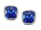 Original Star K 8mm Cushion Cut Created Sapphire Earring Studs