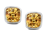 Original Star K 8mm Cushion Cut Simulated Imperial Yellow Topaz Earring Studs