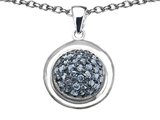 Original Star K Round Puffed Pendant with Simulated Aquamarine
