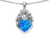 Original Star K™ Loving Mother And Family Pendant With Heart Shape 8mm Created Blue Opal