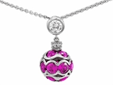 Star K™ Created Pink Sapphire Ball Pendant Necklace style: 306209