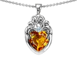 Original Star K™ Loving Mother And Family Pendant With Heart Shape 8mm Genuine Citrine