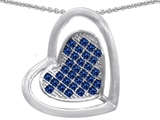 Star K™ Round Created Sapphire Heart Shape Pendant Necklace style: 306214