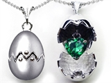 Original Star K Egg Pendant with May Birthstone Heart Simulated Emerald Surprise Inside
