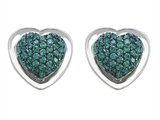 Star K™ Heart Shape Love Earrings with Simulated Emerald style: 306220