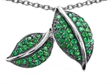 Original Star K Nature Lover Leaf Pendant with Simulated Emerald