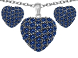 Star K™ Created Sapphire Puffed Heart Love Pendant with matching earrings style: 306223