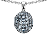 Star K™ Oval Puffed Pendant Necklace with Simulated Aquamarine style: 306225