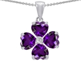 Celtic Love by Kelly 6mm Heart Shape Genuine Amethyst Lucky Clover Pendant