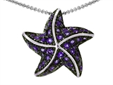 Original Star K™ Starfish Pendant With Round Simulated Amethyst style: 306227