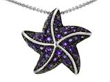 Original Star K™ Starfish Pendant With Round Simulated Amethyst style: 306227