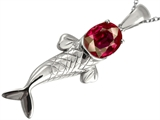 Original Star K™ Fish Pendant With Oval Created Ruby