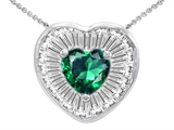 Original Star K™ Heart Shape Simulated Emerald Pendant