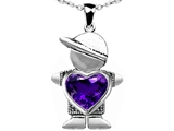 Original Star K™ Little Boy Holding 8mm Heart Mother Birthstone Pendant with Genuine Amethyst