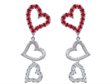 Original Star K Dangling Heart with Created Ruby Heart Earrings