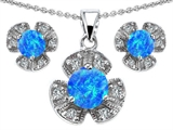 Original Star K Created Blue Opal Flower Pendant Box Set With Matching Earrings